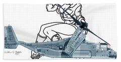 Beach Towel featuring the digital art Bell Boeing Cv-22b Osprey Mojave Maude by Arthur Eggers