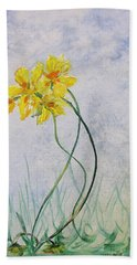 3 Blooms Dancing Beach Towel by Gary Smith