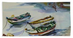 Beach Towel featuring the painting 3 Boats I by Xueling Zou