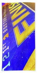 Beach Towel featuring the photograph Boston Marathon Finish Line by Joann Vitali