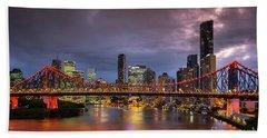 Brisbane City Skyline After Dark Beach Sheet