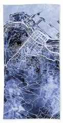 Cape Town South Africa City Street Map Beach Towel
