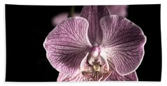 Close Up Shoot Of A Beautiful Orchid Blossom Beach Sheet