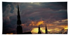 Cloudscape Of Orange Sunset Riga Latvia Artmif Beach Towel