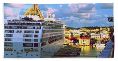 Cruise Ship In Port Beach Towel by Gary Wonning