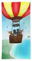 3 Dogs Singing In A Hot Air Balloon Beach Sheet
