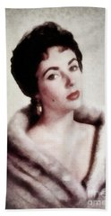 Elizabeth Taylor, Vintage Actress By Js Beach Towel