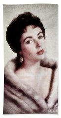 Elizabeth Taylor, Vintage Actress By Js Beach Towel