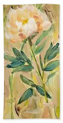 Beach Towel featuring the painting 3 Flowers by Maria Langgle