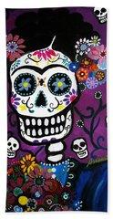 Frida Dia De Los Muertos Beach Towel