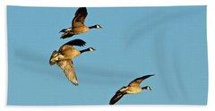 3 Geese In Flight Beach Sheet