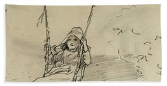 Girl On A Swing Beach Towel