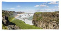 Gullfoss Waterfall In Iceland Beach Sheet