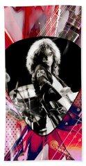 Jimmy Page Led Zeppelin Art Beach Towel by Marvin Blaine