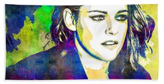 Beach Towel featuring the mixed media Kristen Stewart by Svelby Art