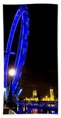 London Eye Night View Beach Sheet