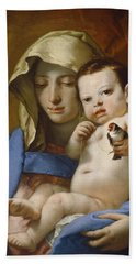Madonna Of The Goldfinch Beach Towel by Giovanni Battista Tiepolo