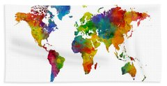 Map Of The World Map Watercolor Beach Towel