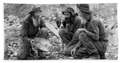 3 Men And A Dog Panning For Gold C. 1889 Beach Towel