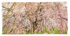 Beach Sheet featuring the photograph Miharu Takizakura Weeping Cherry04 by Tatsuya Atarashi