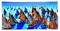 Monet Fishing Boats Calm Seas Beach Sheet by Scott D Van Osdol