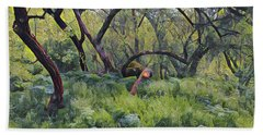 Morning Walk Trees Beach Towel