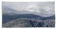 Pikes Peak In Snow Beach Towel