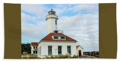 Point Wilson Lighthouse Beach Towel by E Faithe Lester