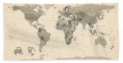 Political Map Of The World Map Beach Towel