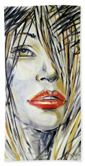 Red Lipstick 081208 Beach Towel by Selena Boron