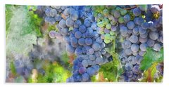 Red Wine Grapes On The Vine Beach Towel