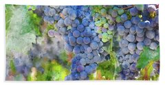 Red Wine Grapes On The Vine Beach Sheet