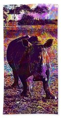 Beach Towel featuring the digital art Rhino Africa Namibia Nature Dry  by PixBreak Art