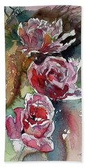 Beach Towel featuring the painting Roses by Kovacs Anna Brigitta