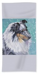 Beach Towel featuring the painting Shetland Sheepdog by Lee Ann Shepard