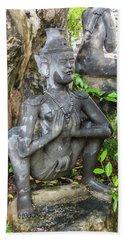 Statue Depicting A Thai Yoga Pose At Wat Pho Temple Beach Sheet