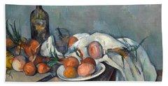 Still Life With Onions  Beach Towel by Paul Cezanne