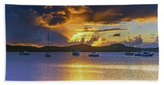 Sunrise Waterscape With Clouds And Boats Beach Towel