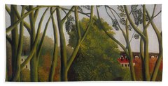 Beach Towel featuring the painting The Banks Of The Bievre Near Bicetre by Henri Rousseau