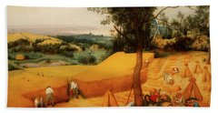 Beach Sheet featuring the painting The Harvesters by Pieter Bruegel The Elder