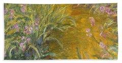The Path Through The Irises Beach Towel by Claude Monet