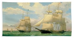 The Ships Winged Arrow And Southern Cross In Boston Harbor Beach Towel