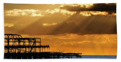 The West Pier In Brighton At Sunset Beach Towel