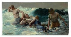 Beach Sheet featuring the painting Undertow by Winslow Homer