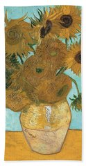 Beach Towel featuring the painting Vase With Twelve Sunflowers by Vincent Van Gogh