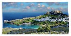 Village Of Lindos Beach Towel