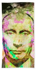 Beach Towel featuring the mixed media Vladimir Putin by Svelby Art