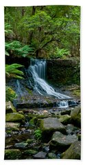 Waterfall In Deep Forest Beach Towel