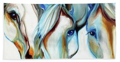 3 Wild Horses In Abstract Beach Towel