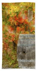 Wine Barrel In Autumn Beach Towel